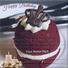 write your name on lovely white decorated birthday cake