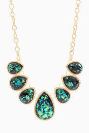 green stone necklace set images Gold green iridescent teardrop stone necklace earring set jpg