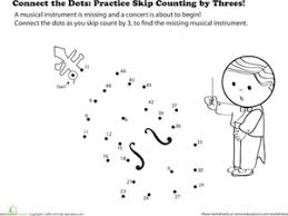 connect the dots practice skip counting by threes worksheet