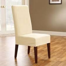 Luxury Suede Mid Pleat Relaxed Fit Dining Chair Slipcover With - Covers for dining room chairs