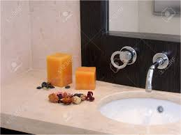 stylish bathroom with candles and potpourri stock photo picture