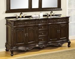 carved brown wooden vanity having glossy top and double white sink
