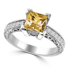 citrine engagement rings princess cut citrine diamond engagement ring antique style