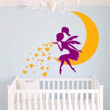 stickers chambre bébé fille fée g909 fée étoiles lune vinyle stickers muraux princesse fille