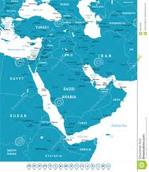 Middle East Country Map by Middle East And Asia Map And Navigation Labels Illustration