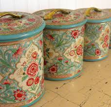 vintage canisters for kitchen vintage jadeite and rose pink shabby tin canister set etsy