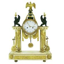 Large Silver Mantel Clock Louis Xvi Ormolu And Marble Portico Mantel Clock Marked Bergmiller
