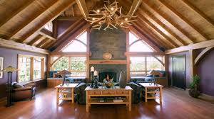 timber frame home interiors timber frame home interior pictures youtube