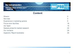 Marketing Reports Exles by Market Profile Credentials Content Mission Services Experience In