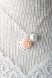 peach rose flower necklace white pearl necklace