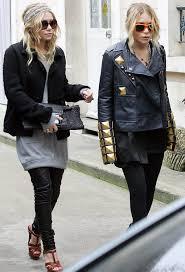 mary kate ashley mka olsen black jacket long sweater grey dress