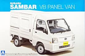 subaru sambar van aoshima 07389 subaru sambar truck vb panel van 1 24 scale kit