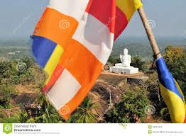 Mi Flag Buddhist Flag And Buddha Mihintale Sri Lanka Stock Photo Image