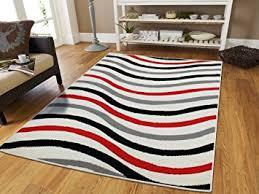 Red Black White Area Rugs Amazon Com Luxury Wavy Pattern 2x3 Area Rugs Red Black Grey White