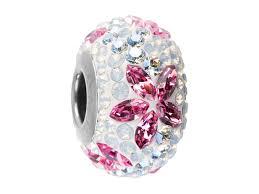white opal crystal swarovski 82093 14mm becharmed pave flower garland bead light rose