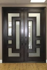 furniture terrific double entry doors with dark wood and frosted