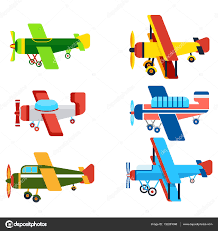 vintage airplanes cartoon models collection u2014 stock vector