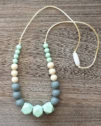 silicone bead necklace images Beaded silicone teething necklace in mint and grey baby jpg