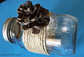 diy mason jar vase craft using pine cones crafty morning