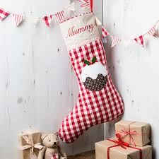 personalised christmas pudding stocking by elm tree studio