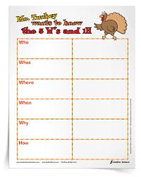 mr turkey 5w s and 1h graphic organizer