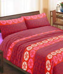 3d Print Bed Sheets Online India Bella Casa Multicolour Cotton Printed Double Bed Sheet With 2