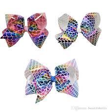 mermaid ribbon 7 inch mermaid ribbon hair bows with clip jojo rainbow fish
