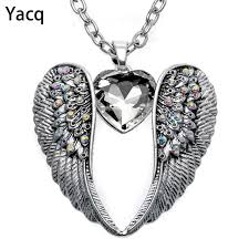 aliexpress heart necklace images Yacq guardian angel wing heart necklace antique silver color women jpg