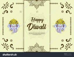 diwali greetings card ganesh india hindu stock vector 735198262