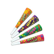 new year party favors new years horns blowouts foil and fringed noisemakers color