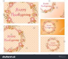 set thanksgiving card size postcard name stock vector 524015164