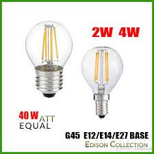 dhl free 2w 4w e27 e12 e14 g45 dimmable led filament bulb 2700k