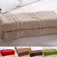 throw blankets for sofa knitted throw blanket 100 cotton size180x200cm full size beige