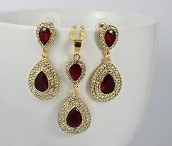 zirconia earrings ruby teardrop cubic zirconia earrings necklace bridal set
