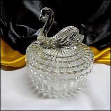 art deco svan ring holder images Swan candy dish or powder box jeannette clear glass jpg