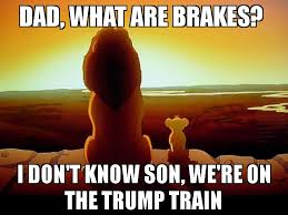 Train Meme - dad what are brakes i don t know son we re on the trump train