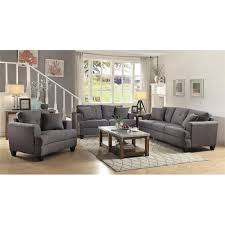 coaster samuel 3 piece sofa set in charcoal 505175 s3