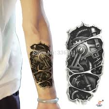 3pcstemporary tattoos 3d black mechanical arm fake tattoo stickers