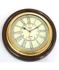 12 inch brass u0026 wooden wall clock numeric u0026 roman numbering buy