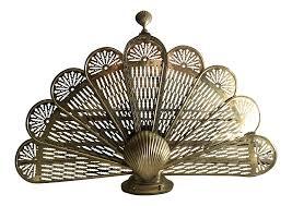 brass seashell fan fireplace screen chairish
