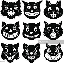 halloween cat pic black and white images of halloween cat heads vector art getty
