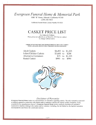 funeral homes prices child infant price lists evergreen funeral home memorial park l