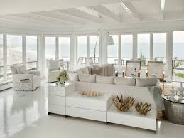 Beach Home Interiors Fashionable Beach Home Interior With White Sofa Plus Wide Glass