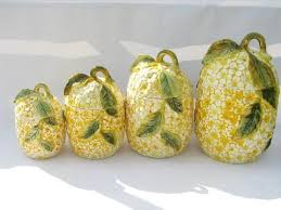 yellow kitchen canisters hydrangea pattern tiny yellow daisies 1960s ceramic kitchen
