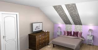 decoration chambre comble avec mur incliné salle de bain sous toit en pente