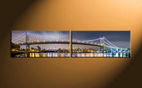 2 piece blue city light canvas photography