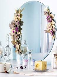 mirror decor ideas felt flowers decorating wall mirrors with romantic details craft