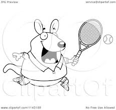 cartoon clipart of a black and white chubby wallaby kangaroo