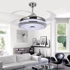 Bedroom Lights Ceiling Led Hidden Blade Quiet Stainless Steel Acrylic Ceiling Fan Led