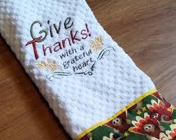 happy thanksgiving dish towel cornucopia kitchen towel